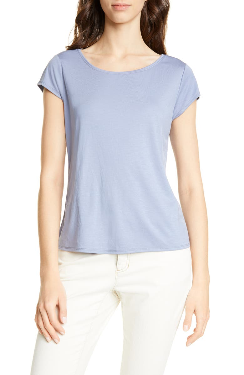 EILEEN FISHER Scoop Neck Cap Sleeve Tee, Main, color, CHAMBRAY