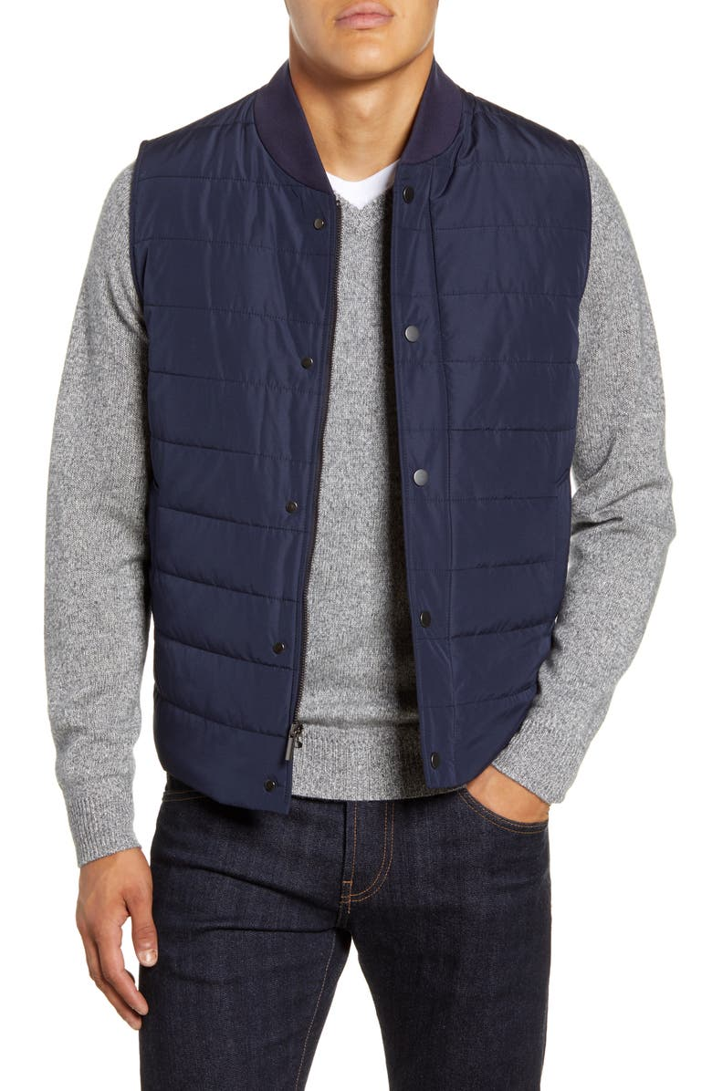 NORDSTROM SIGNATURE Quilted Vest, Main, color, NAVY BLAZER