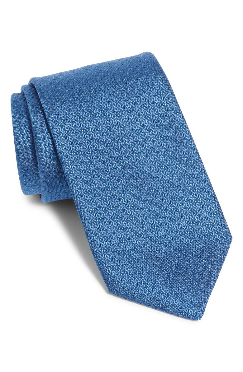 BOSS Dot Silk Tie, Main, color, BLUE