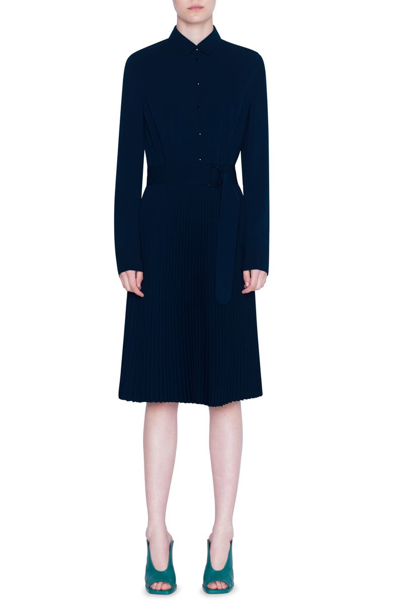 AKRIS PUNTO Belted Pleated Long Sleeve Shirtdress, Main, color, 400