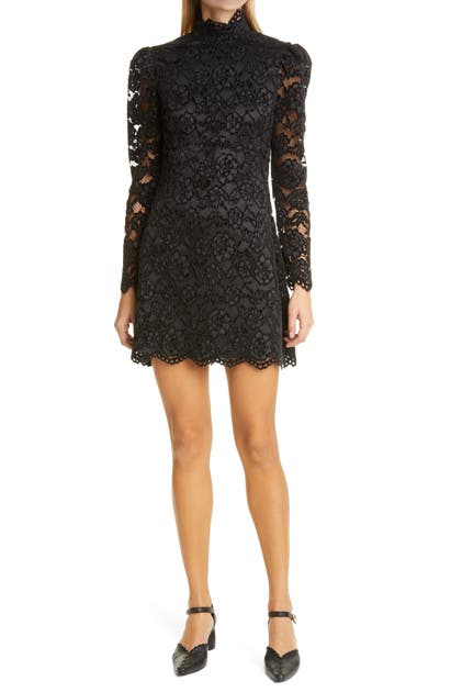 LIKELY CUPANI LACE LONG SLEEVE MINIDRESS