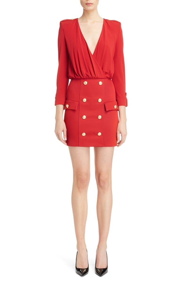 BALMAIN Button Detail Dress, Main, color, 600