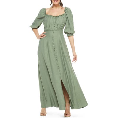 Gal Meets Glam Collection Joanna Shirred Neck Button Front Maxi Dress, Green