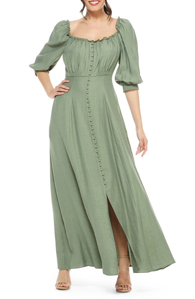 GAL MEETS GLAM COLLECTION Joanna Shirred Neck Button Front Maxi Dress, Main, color, GREEN
