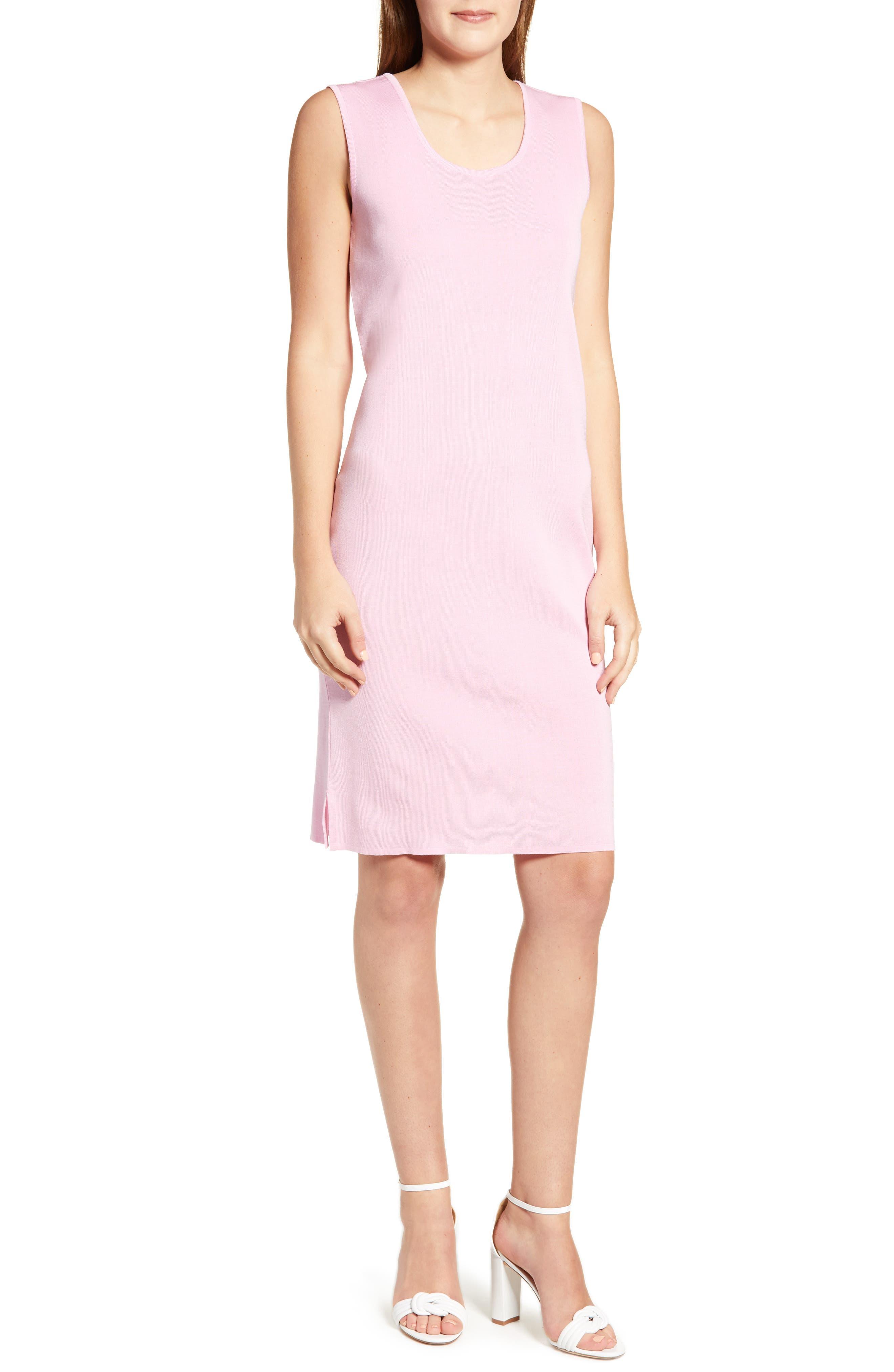 Ming Wang Knit Tank Dress, Pink