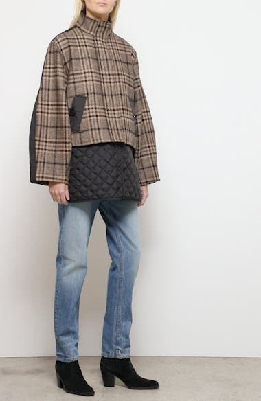 Plaid Tech Wool Blend Coat with Removable Insulated Hem, video thumbnail
