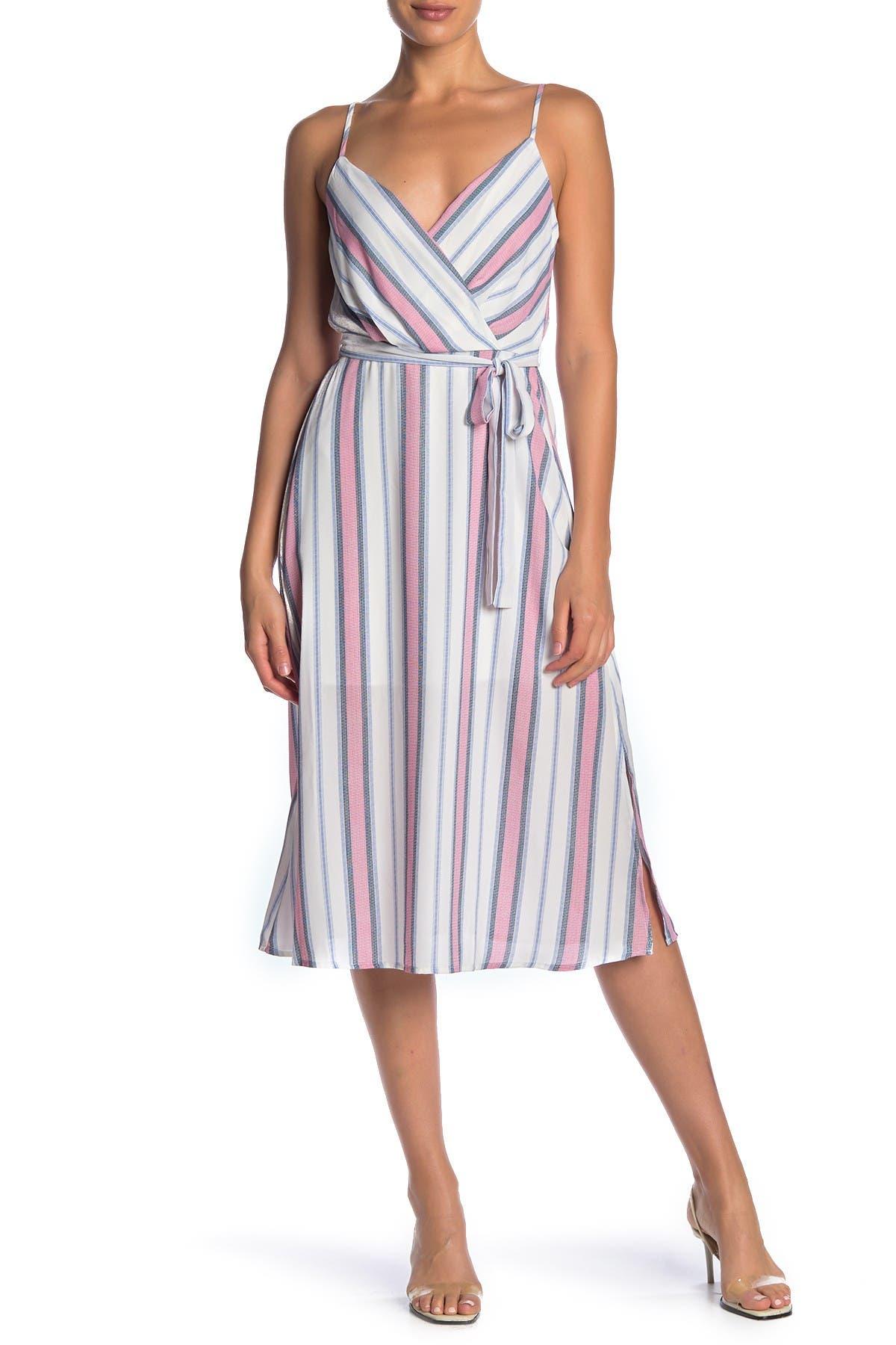 Image of ROW A Stripe Print Midi Dress