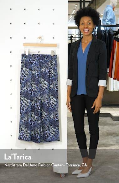 Floral Wide Leg Crop Silk Pants, sales video thumbnail