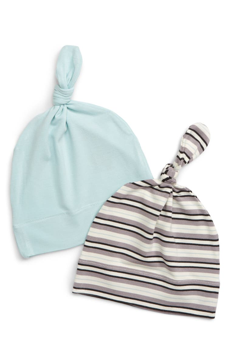 KICKEE PANTS Set of 2 Knot Hats, Main, color, INDIA PURE STRIPE/ SPRING SKY