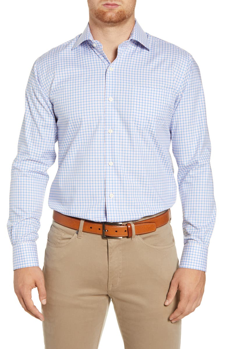 PETER MILLAR Crown Ease Salzburg Regular Fit Check Button-Up Stretch Cotton Shirt, Main, color, LIBERTY BLUE