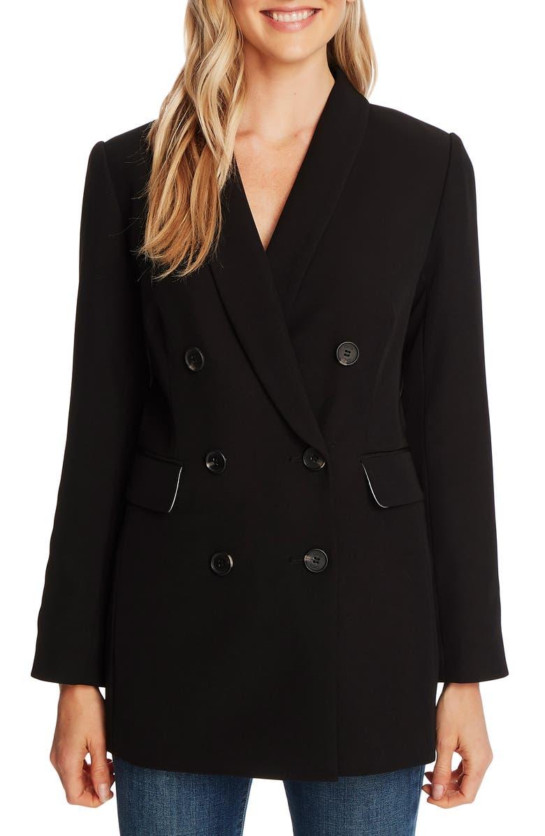 CECE Double Breasted Twill Blazer, Main, color, RICH BLACK