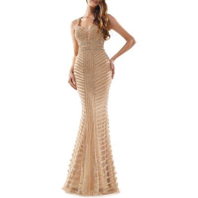 Colors Dress Beaded Stripe Mesh Mermaid Gown, Metallic