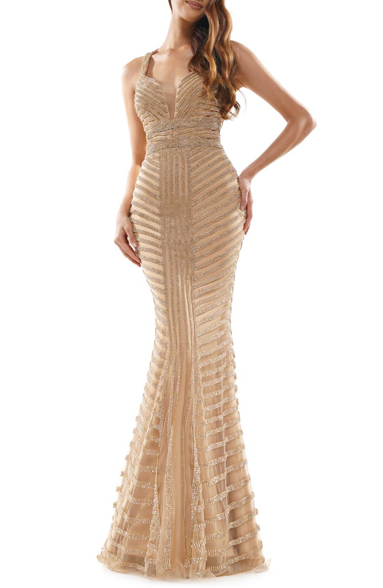 COLORS DRESS Beaded Stripe Mesh Mermaid Gown, Main, color, GOLD