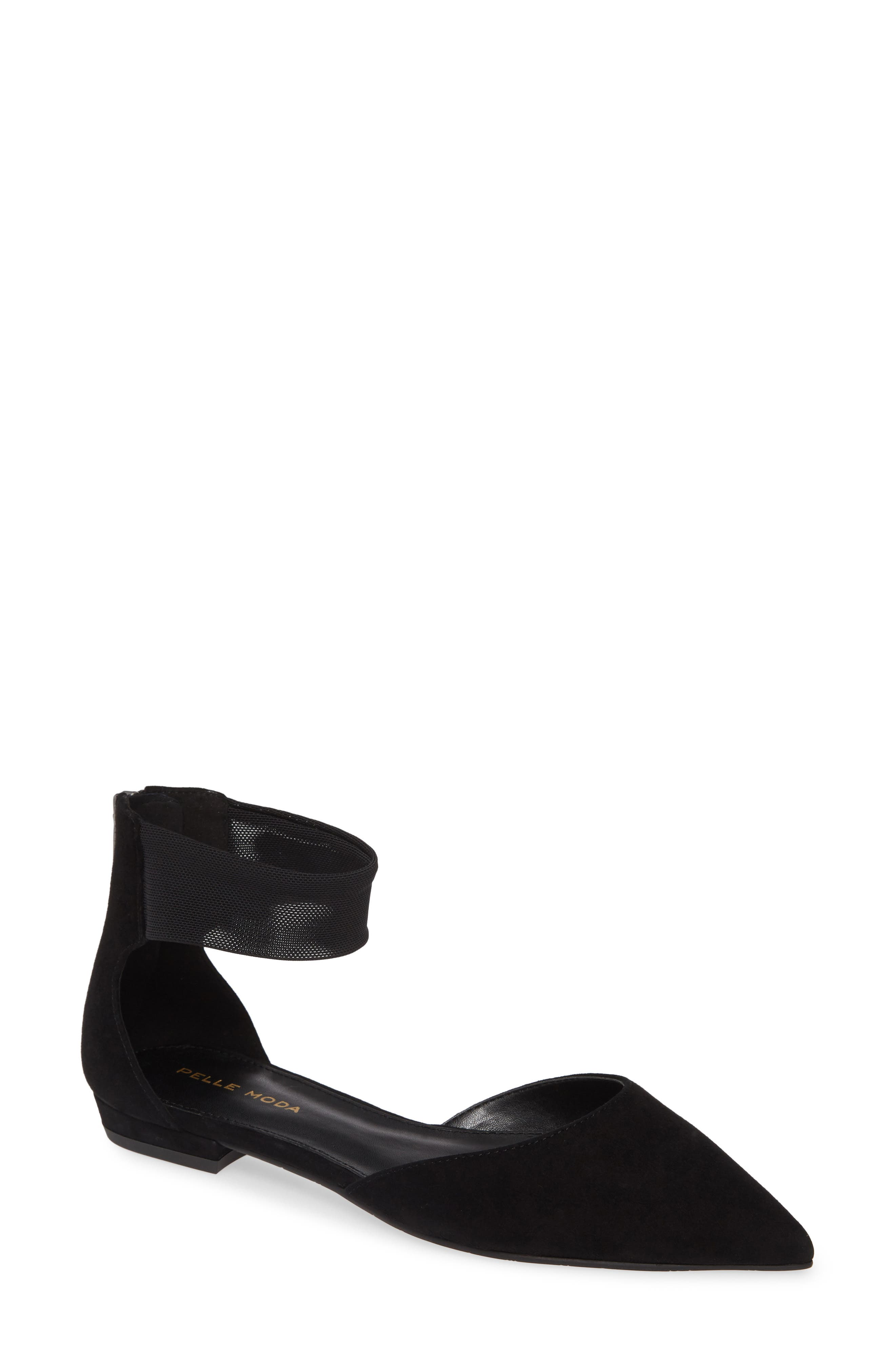 Pelle Moda Dale Ankle Strap Pointed Toe Flat- Black