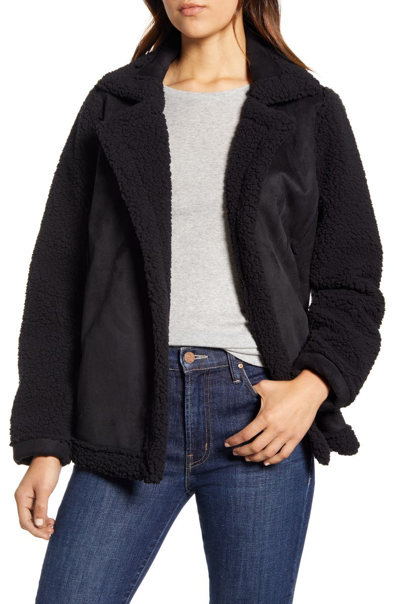 CASLON<SUP>®</SUP> Faux Shearling Jacket, Main, color, 001
