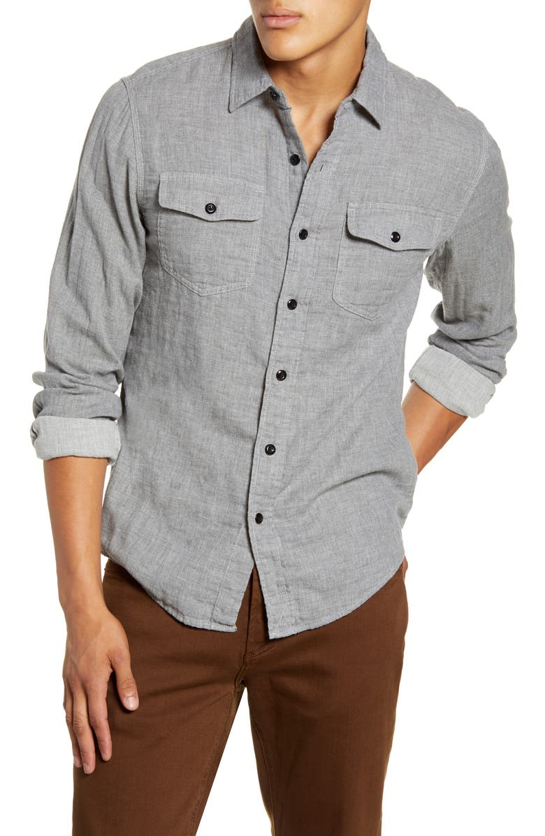 ALEX MILL Slim Fit Button-Up Double Gauze Shirt, Main, color, LIGHT GREY
