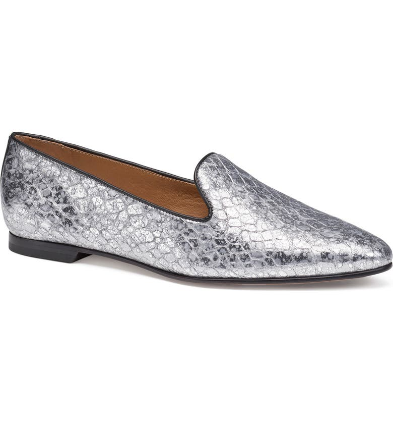 TRASK Farrah Loafer, Main, color, PEWTER CROCO PRINTED LEATHER