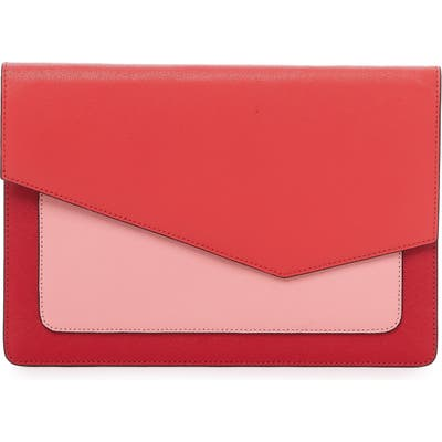 Botkier Cobble Hill Colorblock Leather Flap Clutch - Red