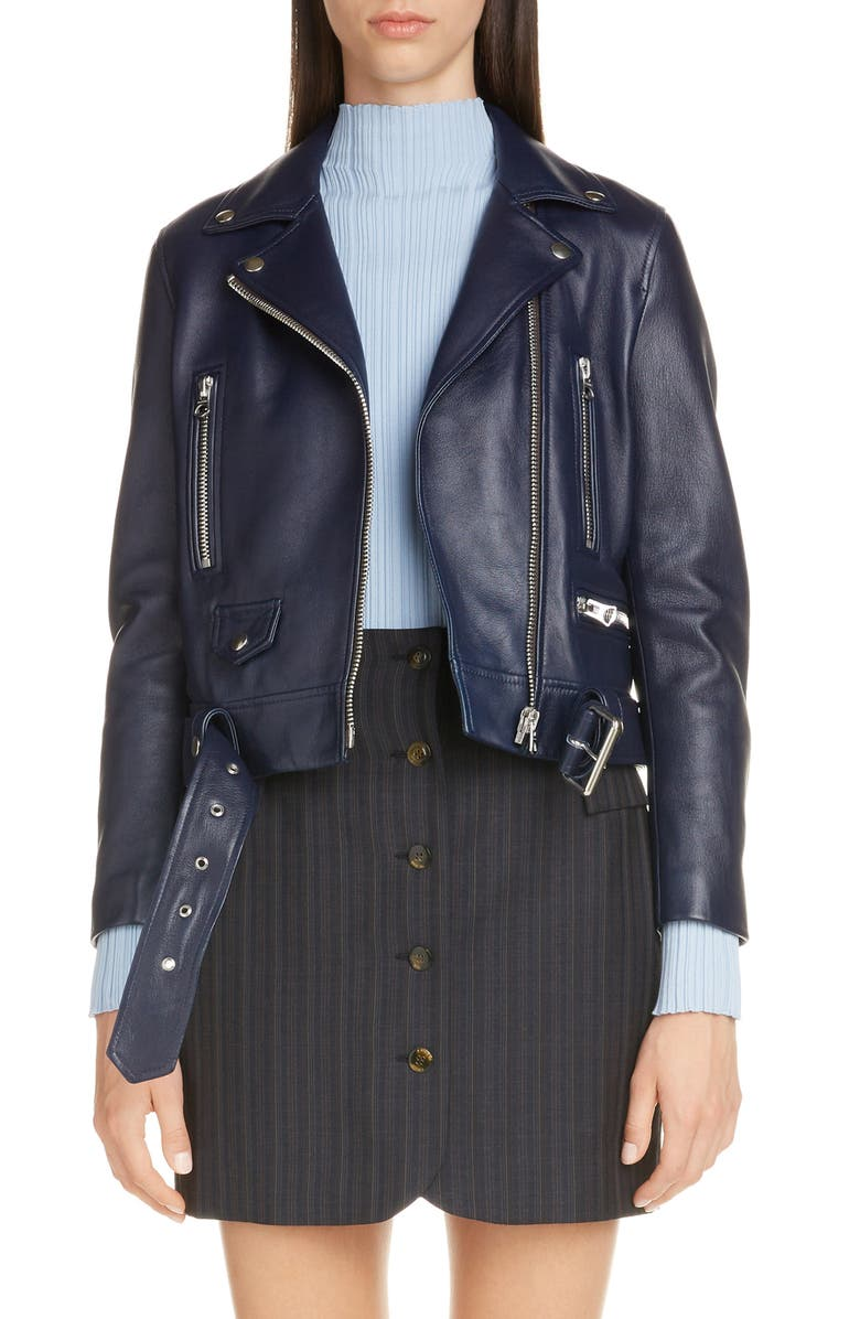 ACNE STUDIOS Mock Core Leather Moto Jacket, Main, color, INK BLUE