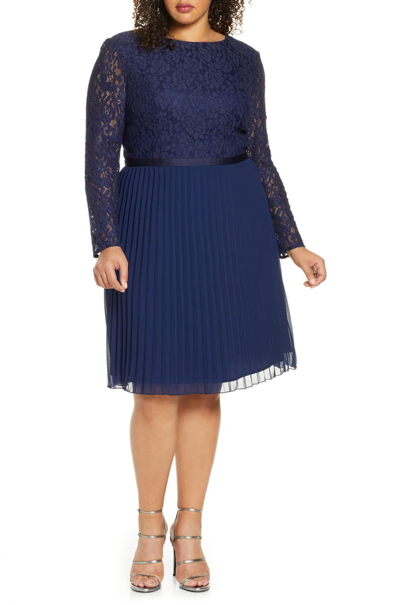 CHI CHI LONDON Curve Rene Long Sleeve Lace Bodice Chiffon Cocktail Dress, Main, color, 440