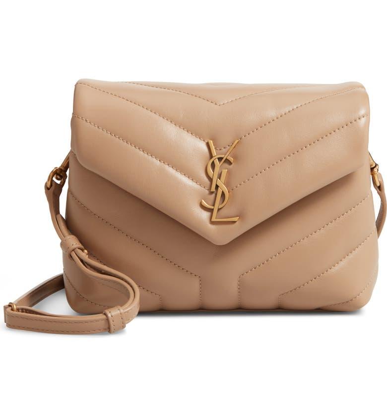 SAINT LAURENT Toy Loulou Matelassé Leather Crossbody Bag, Main, color, LATTE