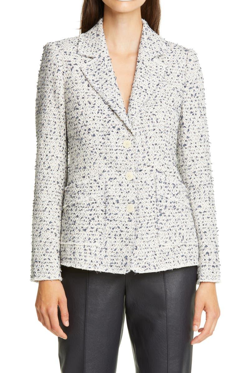 REBECCA TAYLOR Eyelash Tweed Jacket, Main, color, NAVY COMBO