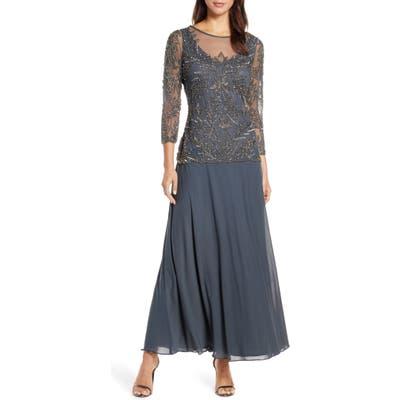 Pisarro Nights Mock Two-Piece Beaded Bodice Gown, Grey