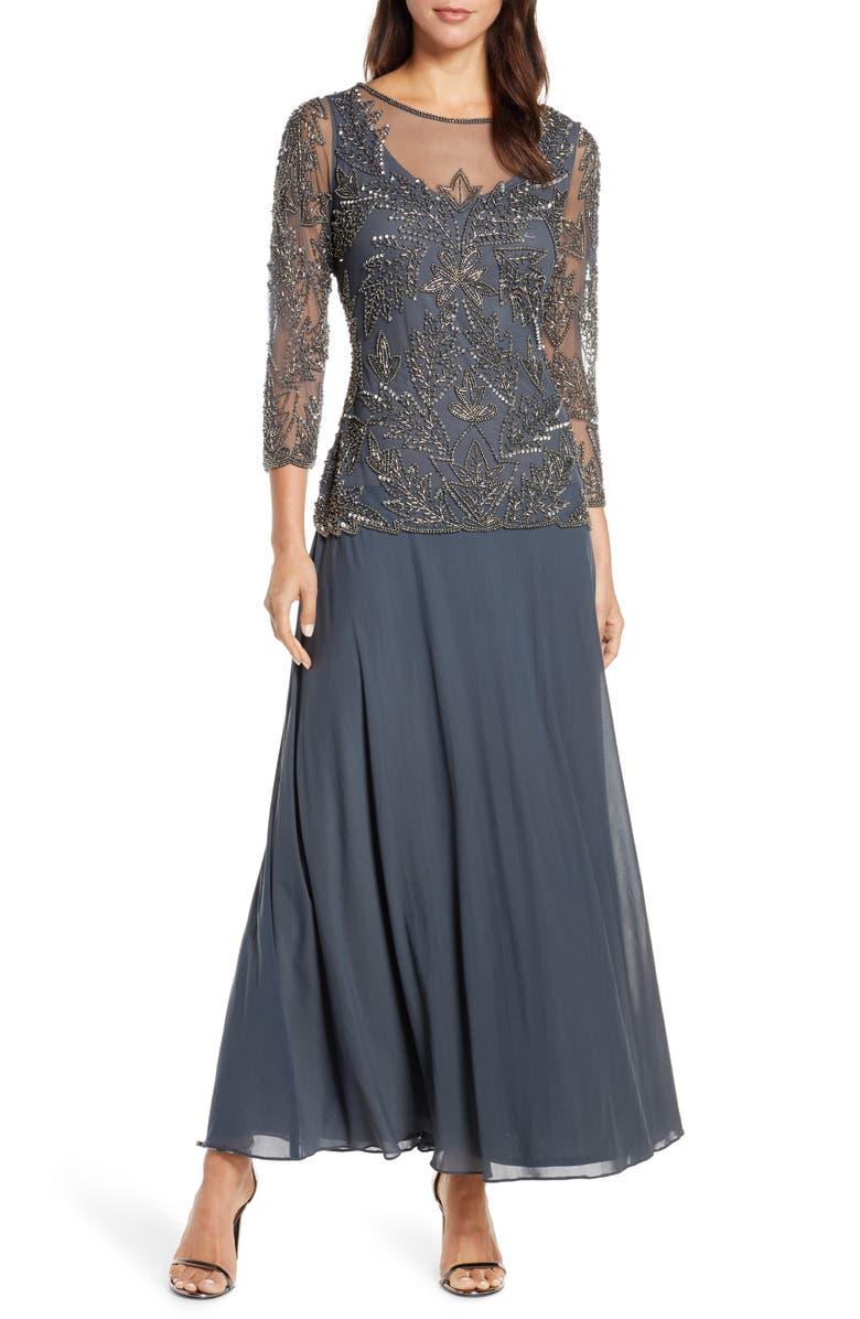 PISARRO NIGHTS Mock Two-Piece Beaded Bodice Gown, Main, color, SLATE