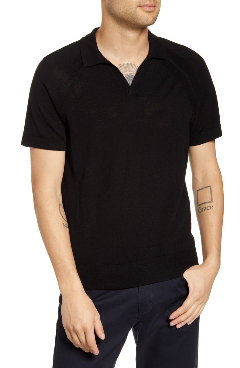 CLUB MONACO Johnny Collar Wool Polo Shirt, Main, color, BLACK