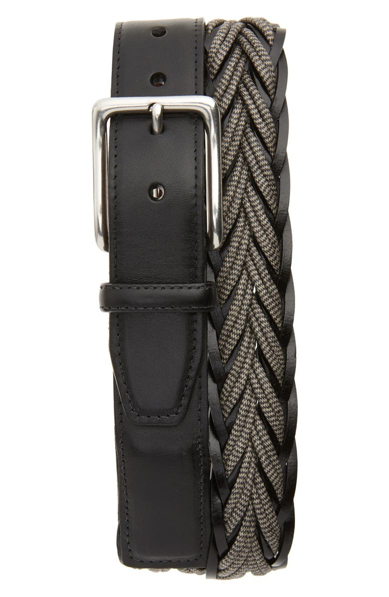 TORINO Braided Cotton & Leather Belt, Main, color, GREY/ BLACK