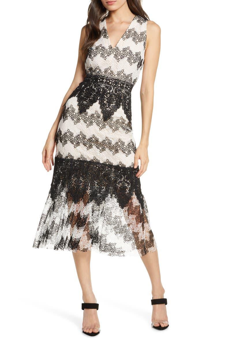 FOXIEDOX Montana Midi Dress, Main, color, BLACK WHITE MULTI