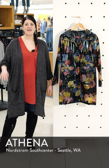 Floral Print Translucent Hooded Rain Jacket, sales video thumbnail