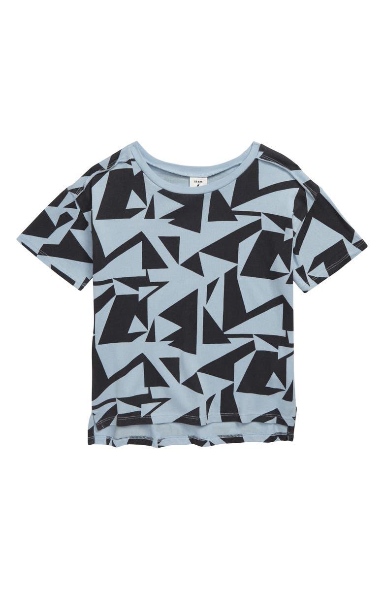 STEM Dynamic Print T-Shirt, Main, color, GREY ONYX STATIC BLOCKS