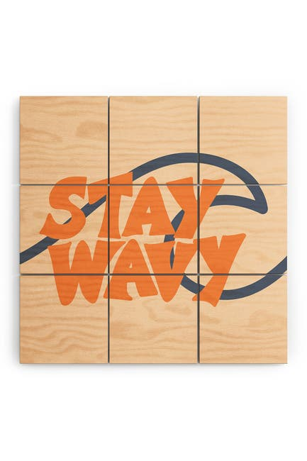 Image of Deny Designs Lyman Creative Co Stay Wavy Surf Type Wood Wall Mural