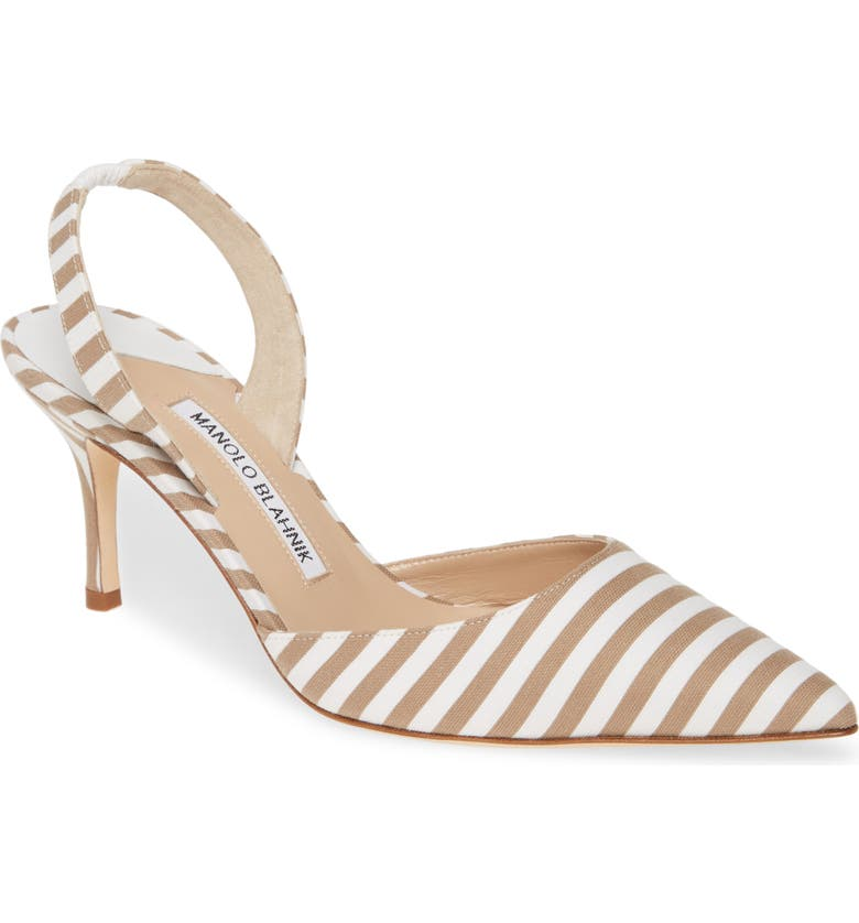 MANOLO BLAHNIK 'Carolyne' Pointy Toe Slingback Pump, Main, color, BEIGE/ WHITE