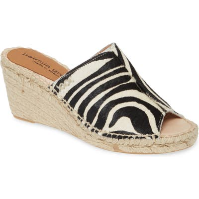 Patricia Green Genuine Calf Hair Espadrille Wedge Slide Sandal, Black