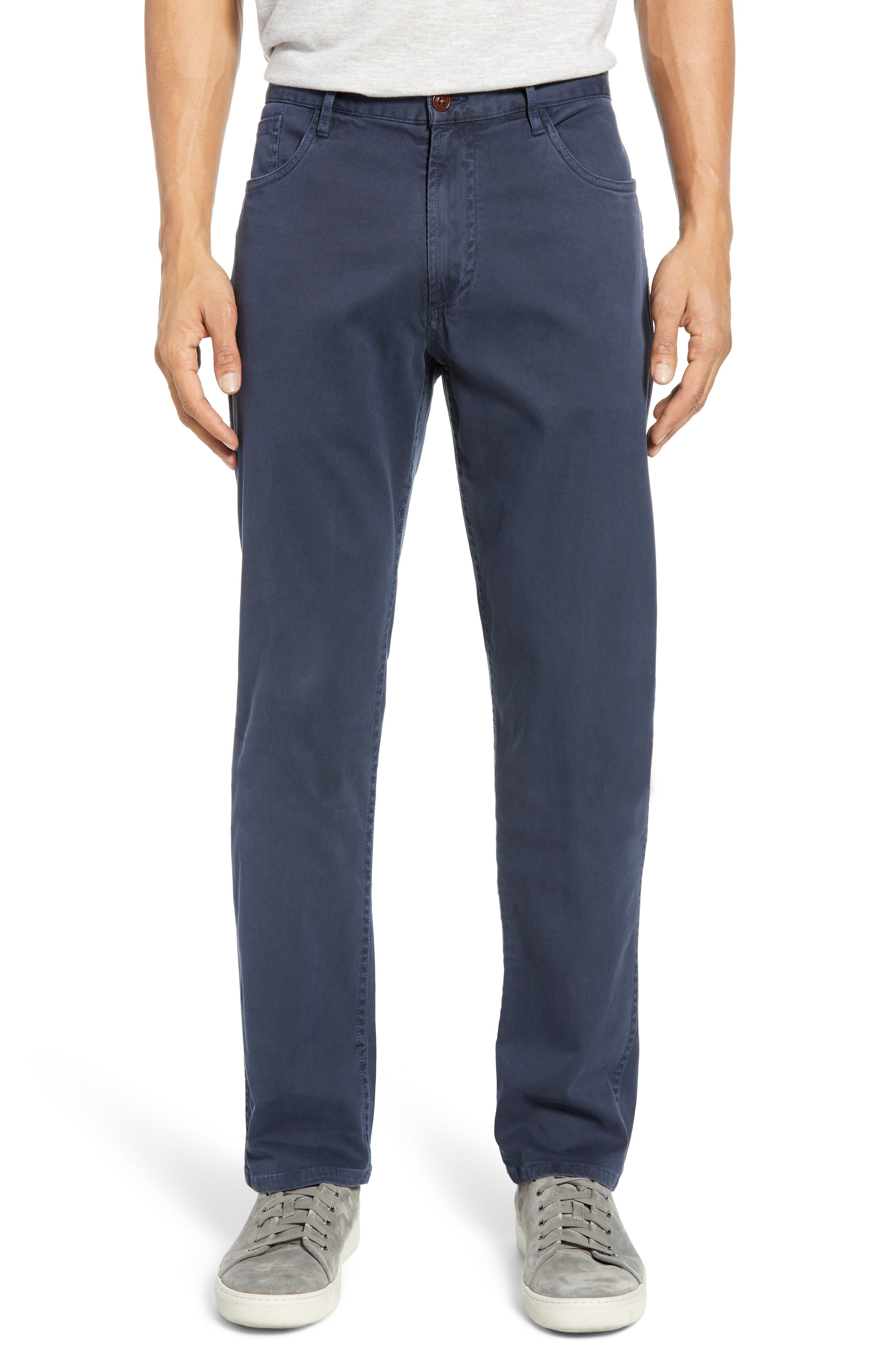 Faherty Comfort Twill Straight Leg 5-Pocket Pants, Blue