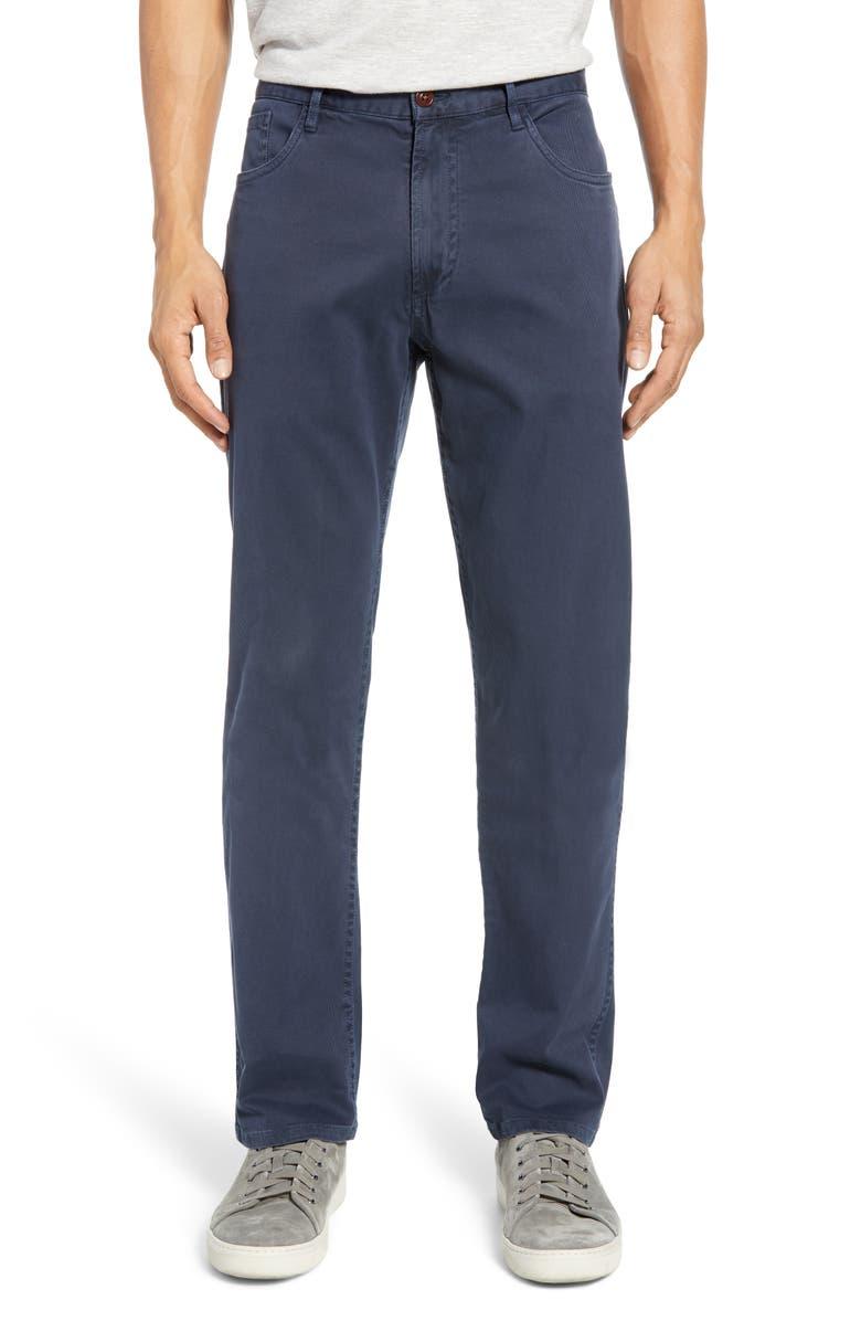 FAHERTY Comfort Twill Straight Leg 5-Pocket Pants, Main, color, NAVY