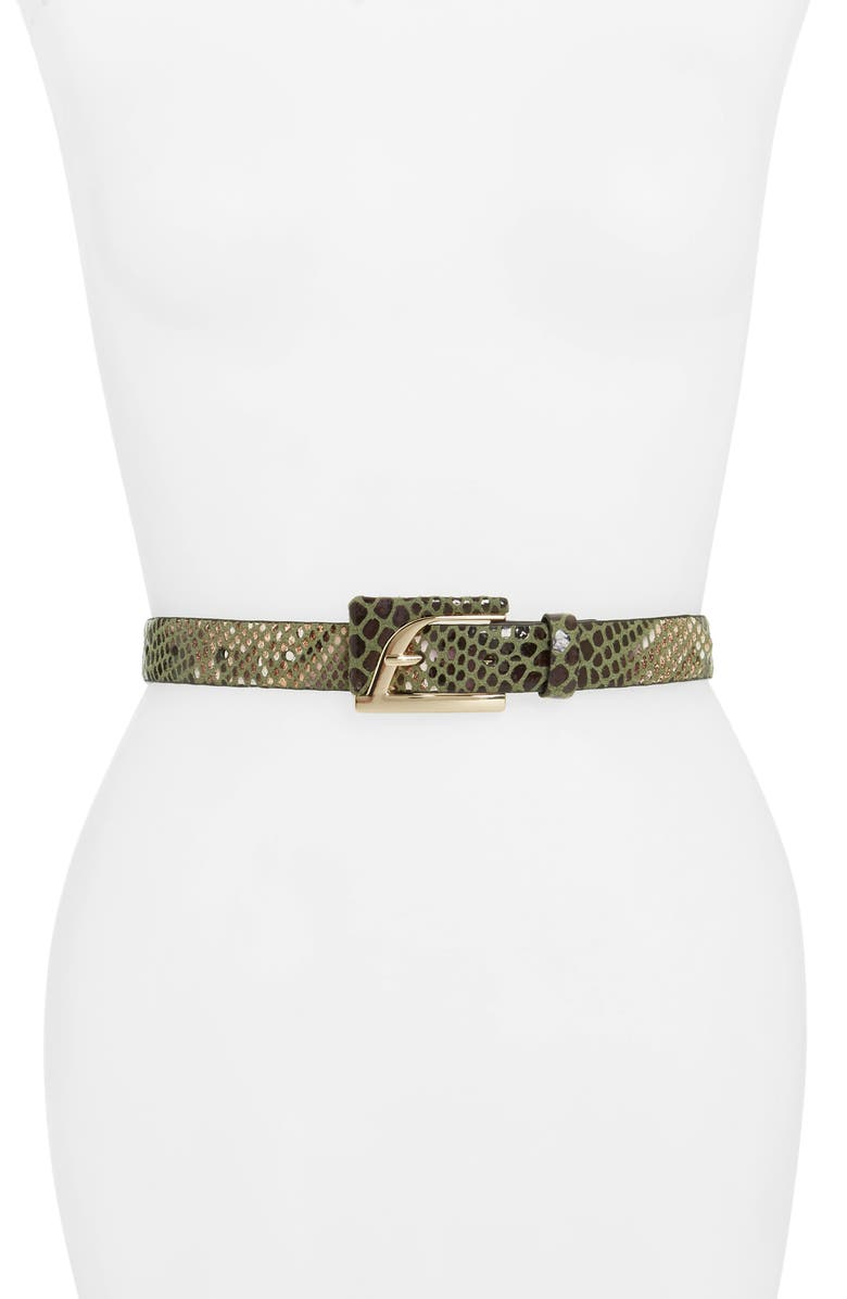 TOPSHOP Diana Metallic Snakeskin Print Belt, Main, color, GREEN MULTI