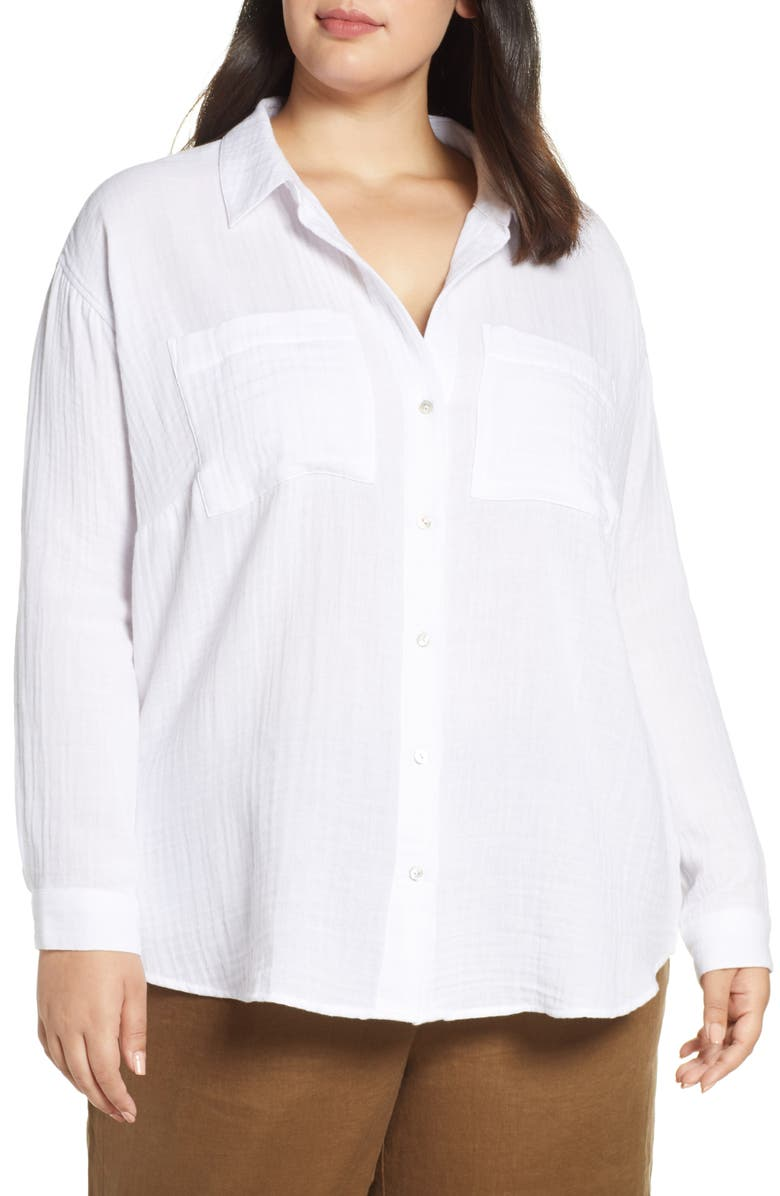 EILEEN FISHER Textured Organic Cotton Shirt, Main, color, 100