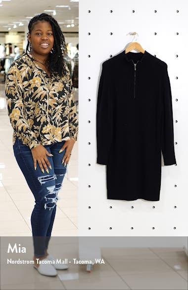 Long Sleeve Mock Neck Sweater Dress, sales video thumbnail
