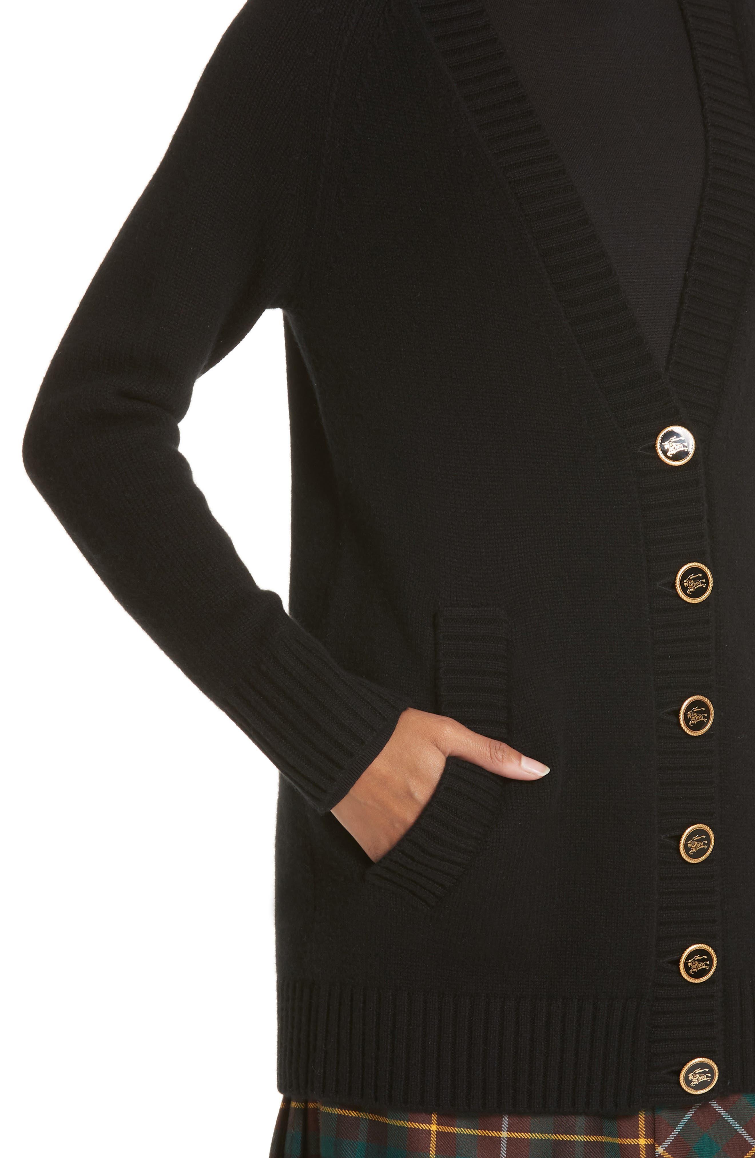 ,                             Elqui Logo Button Cashmere Cardigan,                             Alternate thumbnail 5, color,                             BLACK