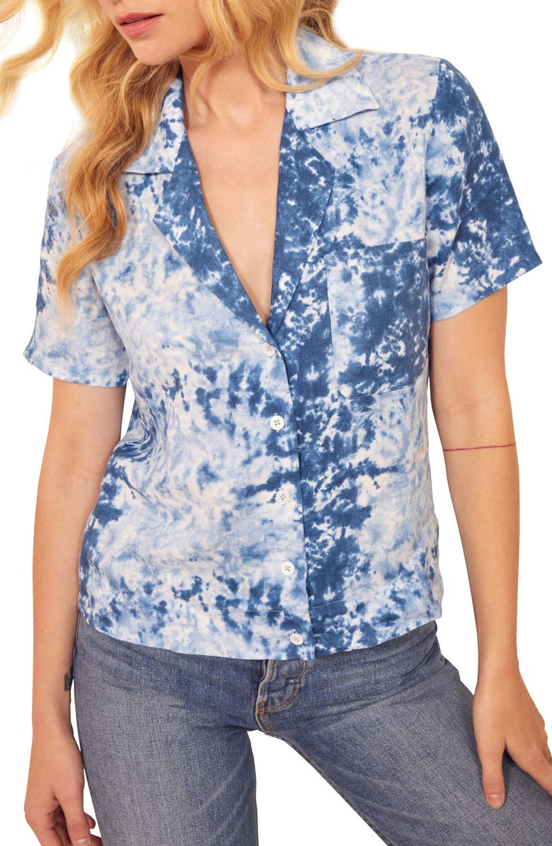 REFORMATION Holiday Tie Dye Linen Shirt, Main, color, 400
