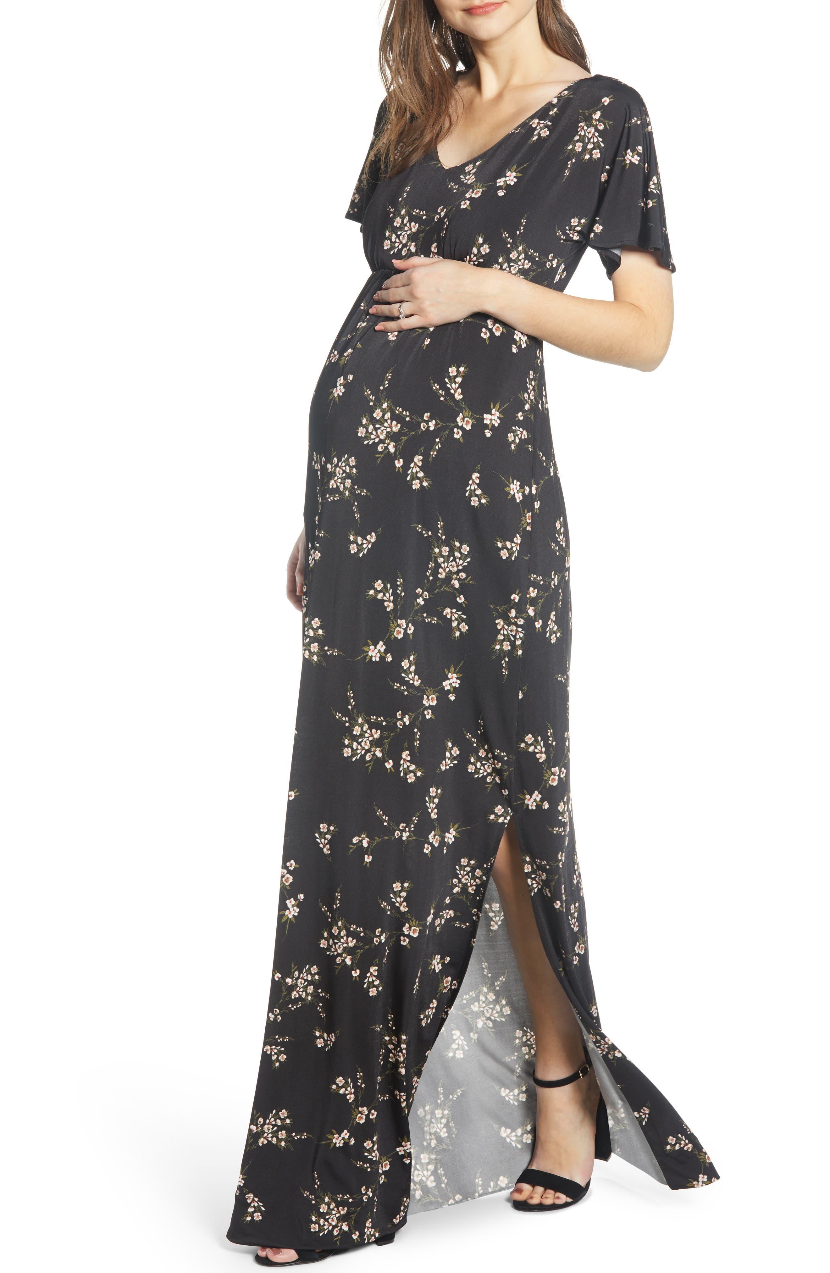 Tiffany Rose Floral Maternity Maxi Dress, Black