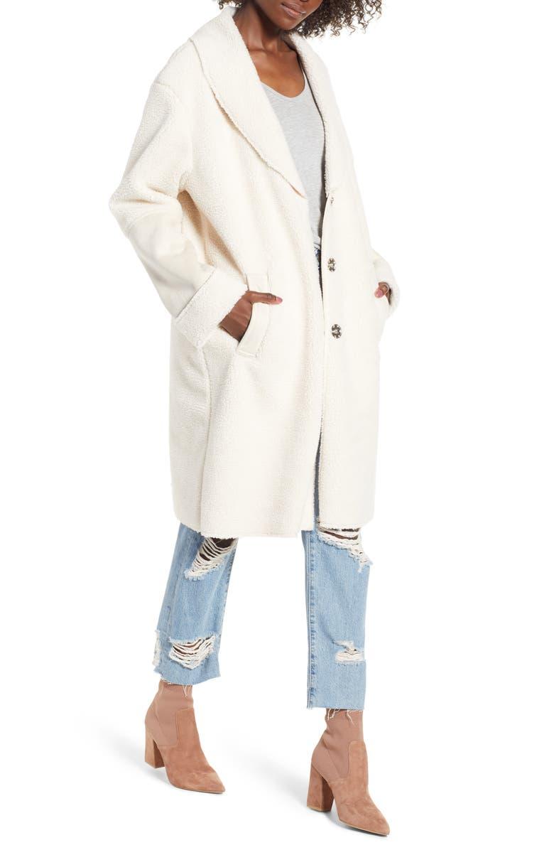 KENSIE Faux Shearling Long Coat, Main, color, 900