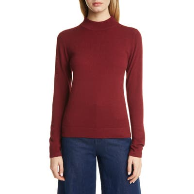 Suistudio Doris2 Mock Neck Wool Sweater, Burgundy