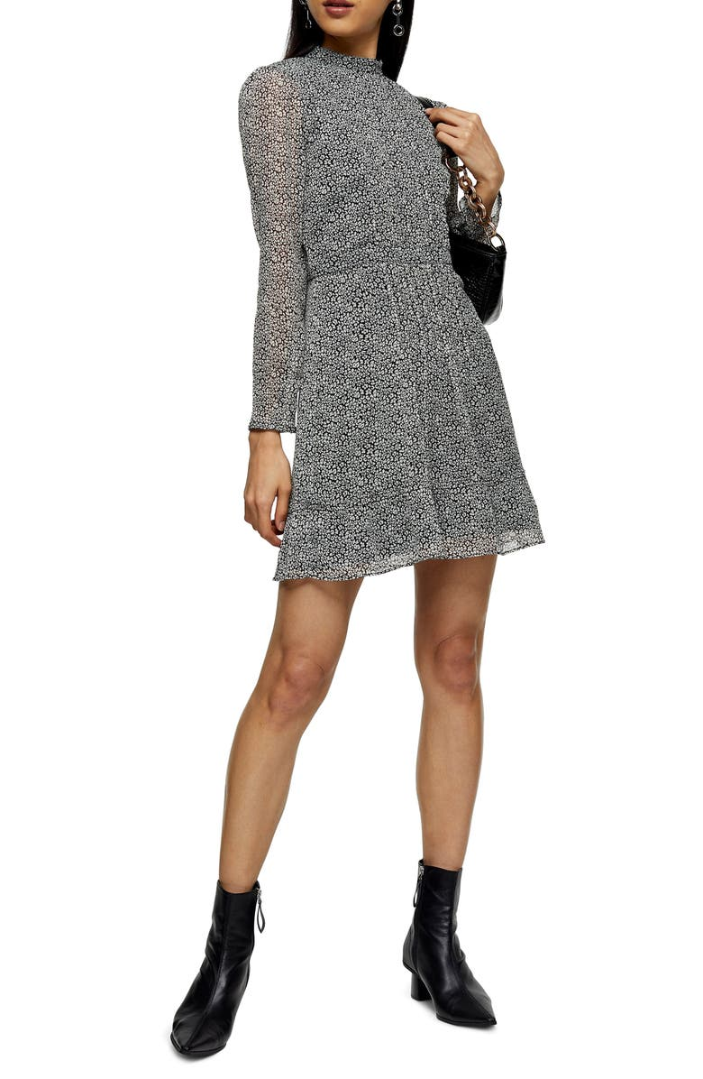 TOPSHOP Leopard Print Long Sleeve Minidress, Main, color, BLACK MULTI