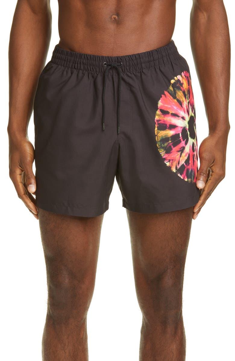 DRIES VAN NOTEN Circle Tie Dye Swim Trunks, Main, color, BLACK