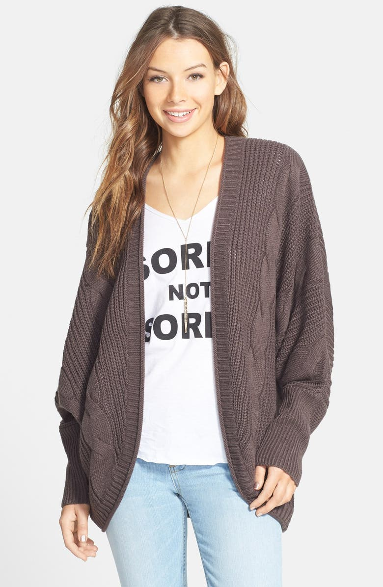 SUN & SHADOW Cable Knit Cardigan, Main, color, GREY SHALE