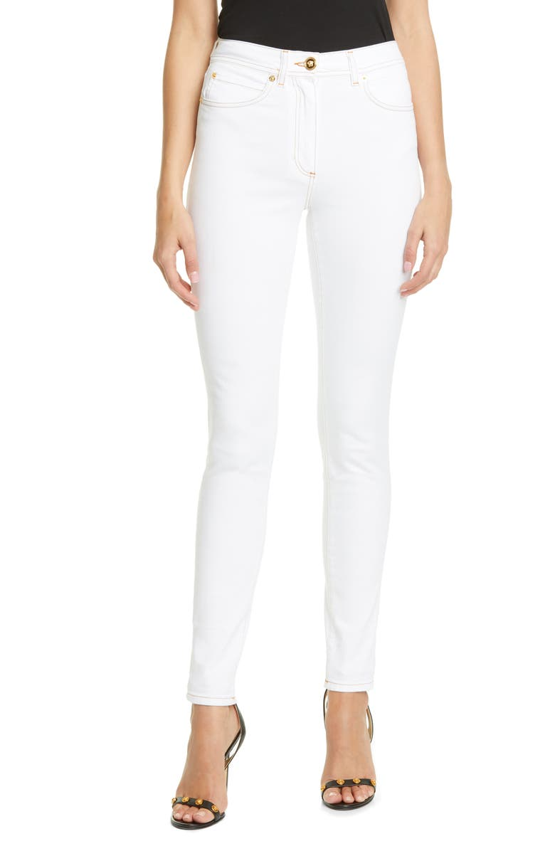 VERSACE FIRST LINE Versace Medusa Button High Waist Skinny Jeans, Main, color, WHITE